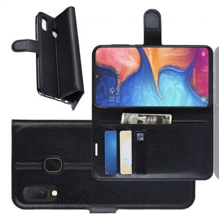 Флип чехол книжка с кошельком подставкой отделениями для карт и магнитной застежкой для Samsung Galaxy A20e Черный