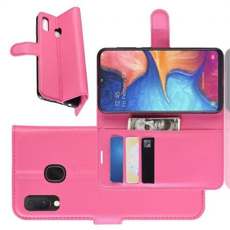 Флип чехол книжка с кошельком подставкой отделениями для карт и магнитной застежкой для Samsung Galaxy A20e Розовый