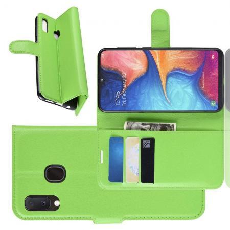 Флип чехол книжка с кошельком подставкой отделениями для карт и магнитной застежкой для Samsung Galaxy A20e Зеленый