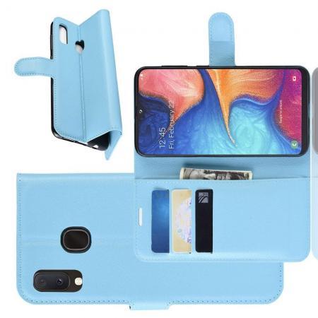 Флип чехол книжка с кошельком подставкой отделениями для карт и магнитной застежкой для Samsung Galaxy A20e Голубой