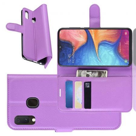Флип чехол книжка с кошельком подставкой отделениями для карт и магнитной застежкой для Samsung Galaxy A20e Фиолетовый