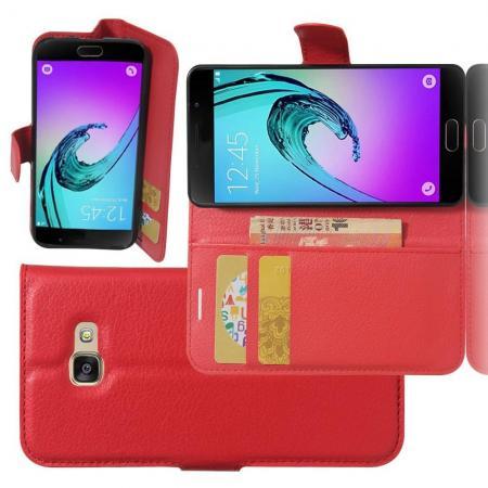Флип чехол книжка с кошельком подставкой отделениями для карт и магнитной застежкой для Samsung Galaxy A3 2017 SM-A320F Красный