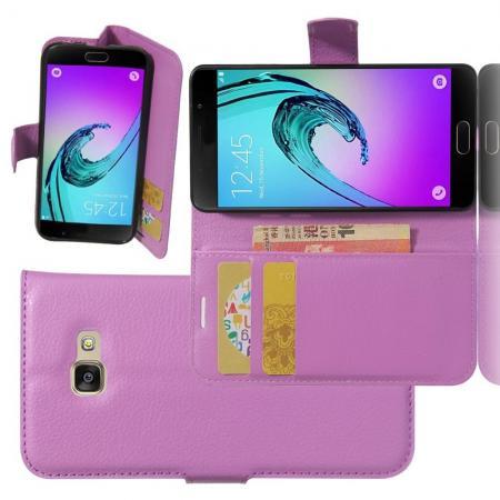 Флип чехол книжка с кошельком подставкой отделениями для карт и магнитной застежкой для Samsung Galaxy A3 2017 SM-A320F Фиолетовый