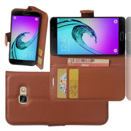 Флип чехол книжка с кошельком подставкой отделениями для карт и магнитной застежкой для Samsung Galaxy A3 2017 SM-A320F Коричневый