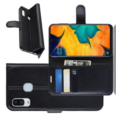 Флип чехол книжка с кошельком подставкой отделениями для карт и магнитной застежкой для Samsung Galaxy A30 / A20 Черный