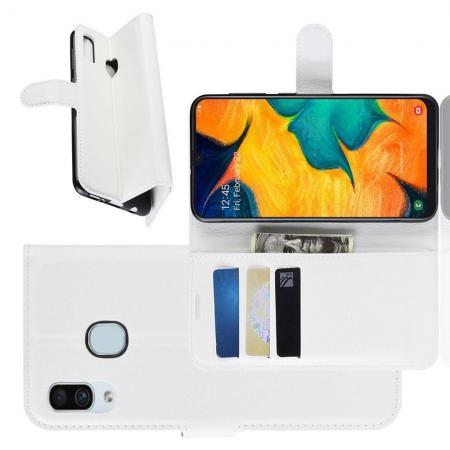Флип чехол книжка с кошельком подставкой отделениями для карт и магнитной застежкой для Samsung Galaxy A30 / A20 Белый