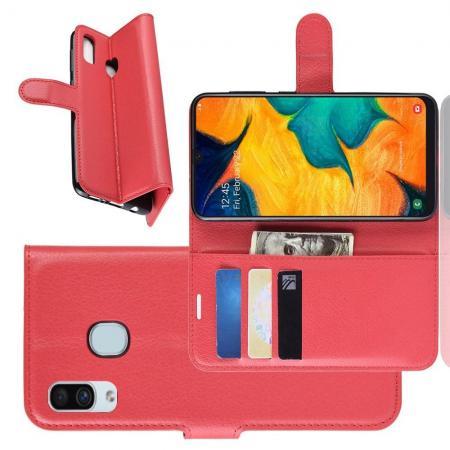 Флип чехол книжка с кошельком подставкой отделениями для карт и магнитной застежкой для Samsung Galaxy A30 / A20 Красный