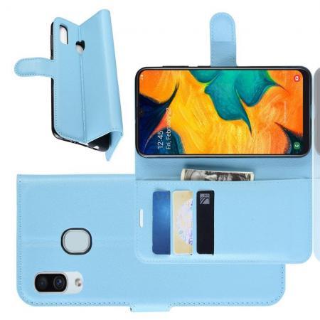Флип чехол книжка с кошельком подставкой отделениями для карт и магнитной застежкой для Samsung Galaxy A30 / A20 Голубой