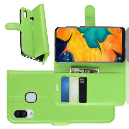Флип чехол книжка с кошельком подставкой отделениями для карт и магнитной застежкой для Samsung Galaxy A30 / A20 Зеленый