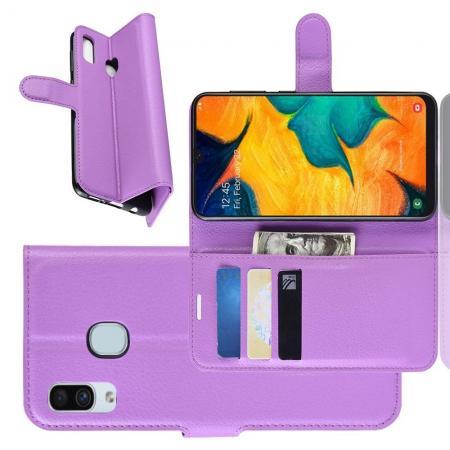 Флип чехол книжка с кошельком подставкой отделениями для карт и магнитной застежкой для Samsung Galaxy A30 / A20 Фиолетовый