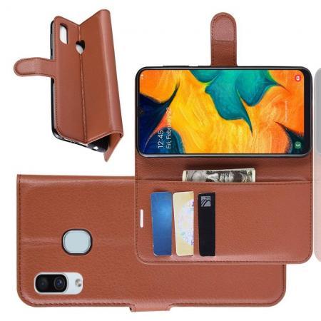 Флип чехол книжка с кошельком подставкой отделениями для карт и магнитной застежкой для Samsung Galaxy A30 / A20 Коричневый
