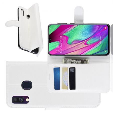 Флип чехол книжка с кошельком подставкой отделениями для карт и магнитной застежкой для Samsung Galaxy A40 Белый