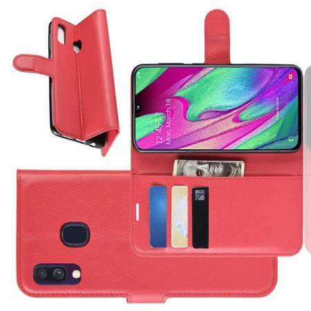 Флип чехол книжка с кошельком подставкой отделениями для карт и магнитной застежкой для Samsung Galaxy A40 Красный
