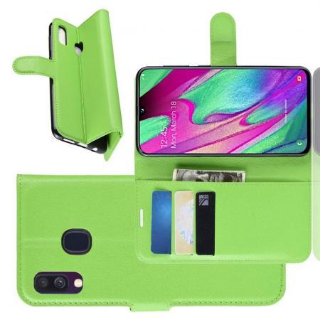 Флип чехол книжка с кошельком подставкой отделениями для карт и магнитной застежкой для Samsung Galaxy A40 Зеленый