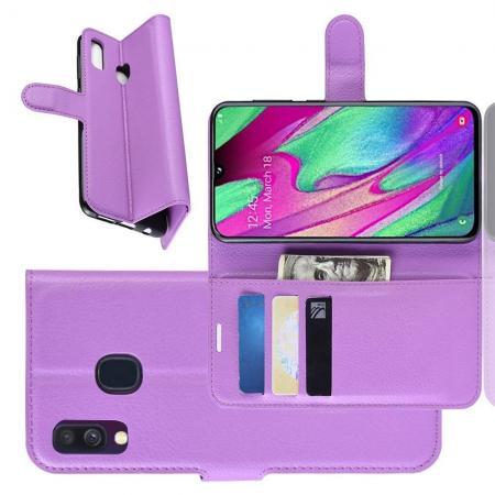 Флип чехол книжка с кошельком подставкой отделениями для карт и магнитной застежкой для Samsung Galaxy A40 Фиолетовый