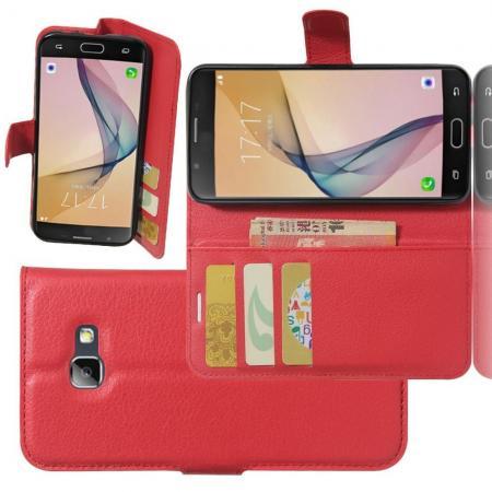 Флип чехол книжка с кошельком подставкой отделениями для карт и магнитной застежкой для Samsung Galaxy A5 2017 SM-A520F Красный