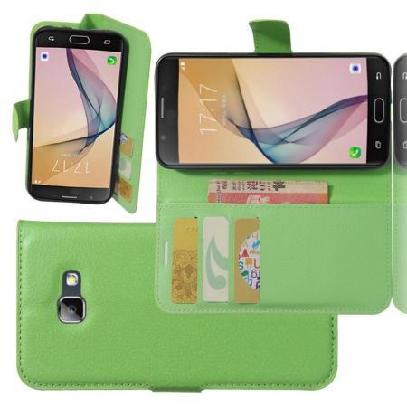 Флип чехол книжка с кошельком подставкой отделениями для карт и магнитной застежкой для Samsung Galaxy A5 2017 SM-A520F Зеленый