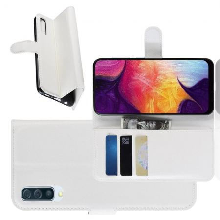 Флип чехол книжка с кошельком подставкой отделениями для карт и магнитной застежкой для Samsung Galaxy A50 Белый