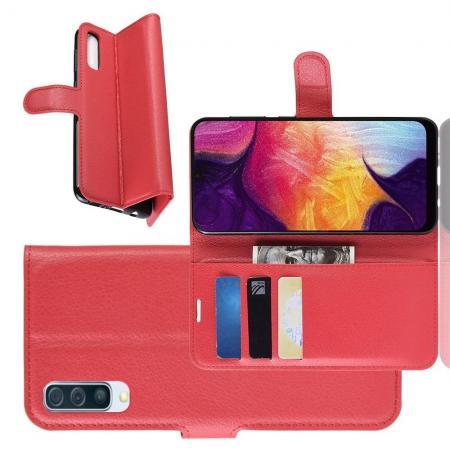 Флип чехол книжка с кошельком подставкой отделениями для карт и магнитной застежкой для Samsung Galaxy A50 Красный