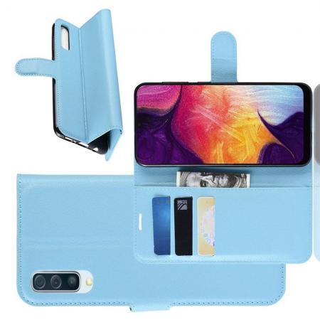 Флип чехол книжка с кошельком подставкой отделениями для карт и магнитной застежкой для Samsung Galaxy A50 Голубой