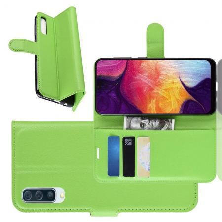 Флип чехол книжка с кошельком подставкой отделениями для карт и магнитной застежкой для Samsung Galaxy A50 Зеленый