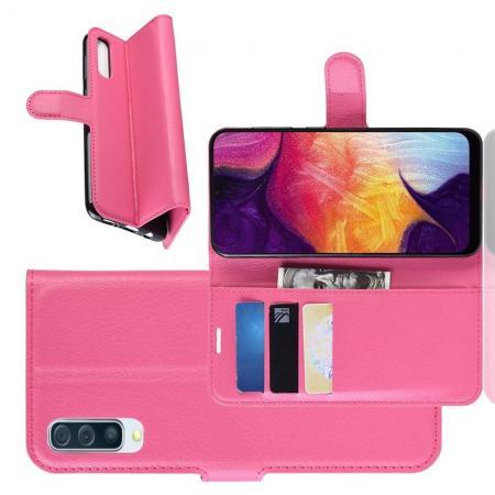 Флип чехол книжка с кошельком подставкой отделениями для карт и магнитной застежкой для Samsung Galaxy A50 Розовый