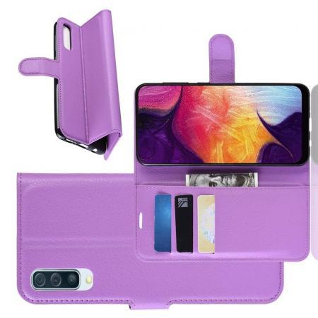 Флип чехол книжка с кошельком подставкой отделениями для карт и магнитной застежкой для Samsung Galaxy A50 Фиолетовый