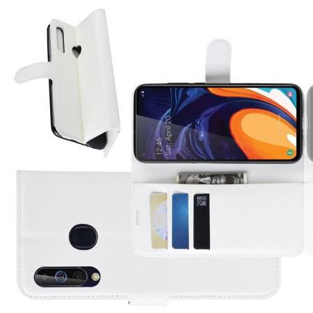 Флип чехол книжка с кошельком подставкой отделениями для карт и магнитной застежкой для Samsung Galaxy A60 Белый