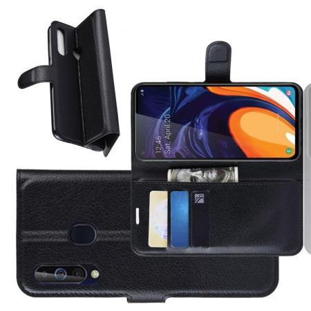 Флип чехол книжка с кошельком подставкой отделениями для карт и магнитной застежкой для Samsung Galaxy A60 Черный