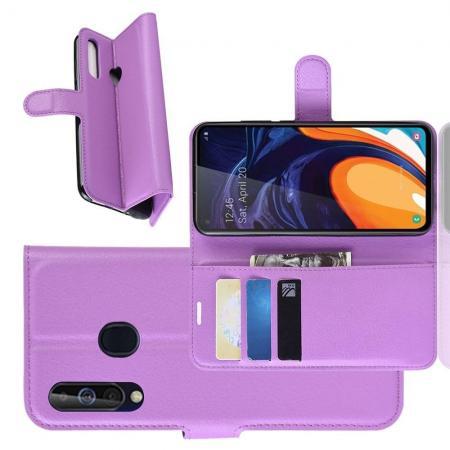 Флип чехол книжка с кошельком подставкой отделениями для карт и магнитной застежкой для Samsung Galaxy A60 Фиолетовый