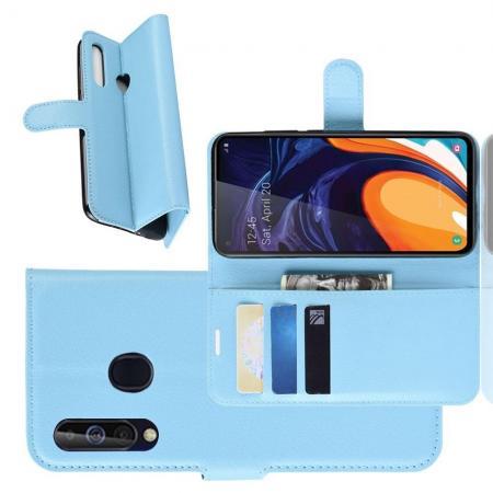Флип чехол книжка с кошельком подставкой отделениями для карт и магнитной застежкой для Samsung Galaxy A60 Голубой