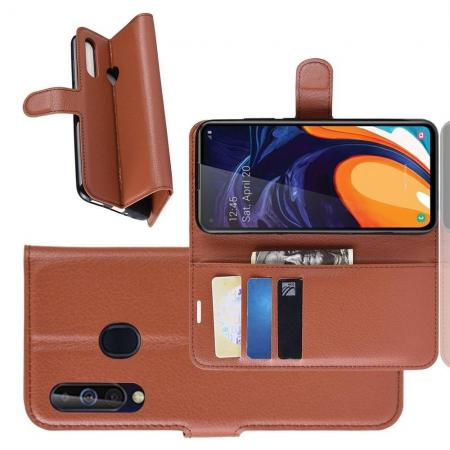 Флип чехол книжка с кошельком подставкой отделениями для карт и магнитной застежкой для Samsung Galaxy A60 Коричневый