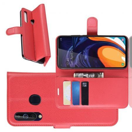 Флип чехол книжка с кошельком подставкой отделениями для карт и магнитной застежкой для Samsung Galaxy A60 Красный