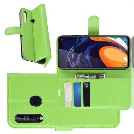 Флип чехол книжка с кошельком подставкой отделениями для карт и магнитной застежкой для Samsung Galaxy A60 Зеленый