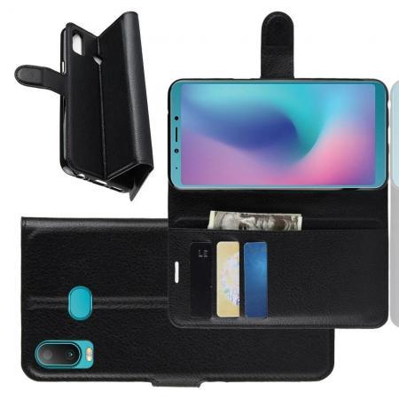Флип чехол книжка с кошельком подставкой отделениями для карт и магнитной застежкой для Samsung Galaxy A6s Черный