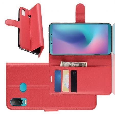 Флип чехол книжка с кошельком подставкой отделениями для карт и магнитной застежкой для Samsung Galaxy A6s Красный
