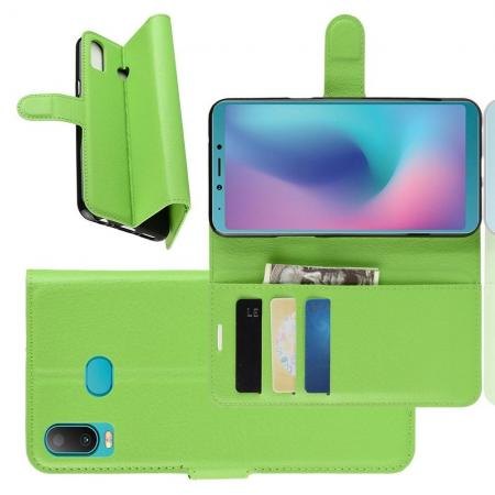 Флип чехол книжка с кошельком подставкой отделениями для карт и магнитной застежкой для Samsung Galaxy A6s Зеленый