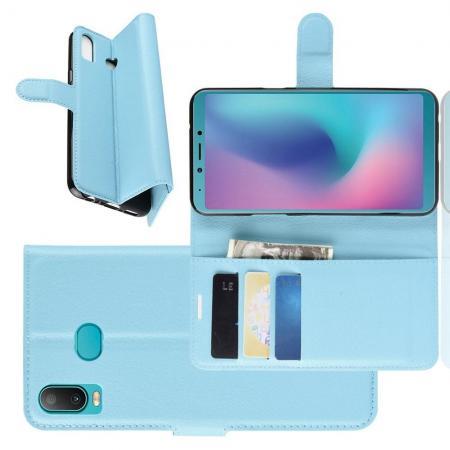 Флип чехол книжка с кошельком подставкой отделениями для карт и магнитной застежкой для Samsung Galaxy A6s Голубой