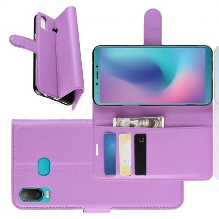 Флип чехол книжка с кошельком подставкой отделениями для карт и магнитной застежкой для Samsung Galaxy A6s Фиолетовый