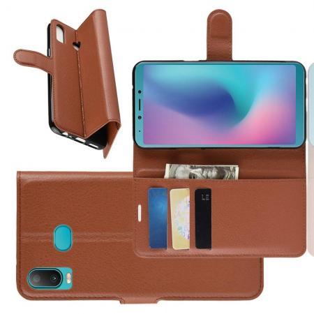 Флип чехол книжка с кошельком подставкой отделениями для карт и магнитной застежкой для Samsung Galaxy A6s Коричневый