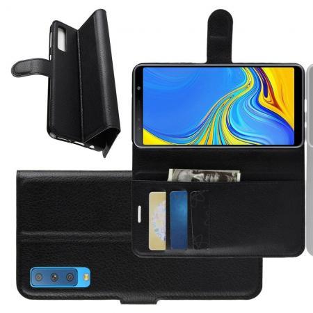 Флип чехол книжка с кошельком подставкой отделениями для карт и магнитной застежкой для Samsung Galaxy A7 2018 SM-A750 Черный