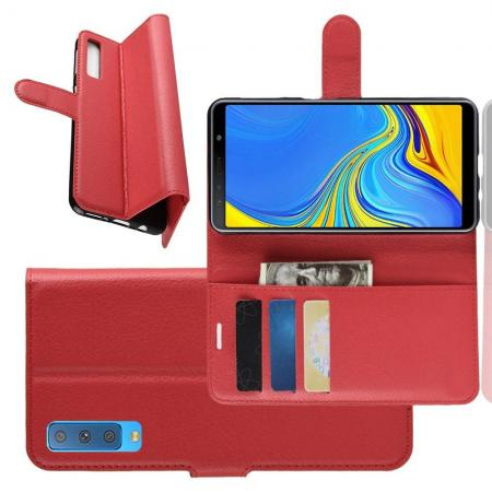 Флип чехол книжка с кошельком подставкой отделениями для карт и магнитной застежкой для Samsung Galaxy A7 2018 SM-A750 Красный