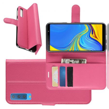 Флип чехол книжка с кошельком подставкой отделениями для карт и магнитной застежкой для Samsung Galaxy A7 2018 SM-A750 Розовый
