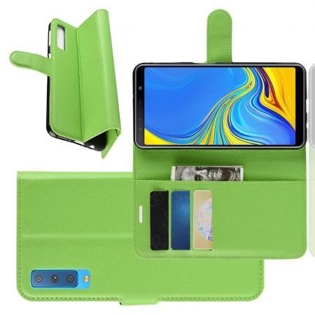 Флип чехол книжка с кошельком подставкой отделениями для карт и магнитной застежкой для Samsung Galaxy A7 2018 SM-A750 Зеленый