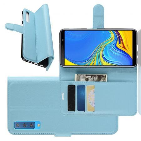 Флип чехол книжка с кошельком подставкой отделениями для карт и магнитной застежкой для Samsung Galaxy A7 2018 SM-A750 Голубой