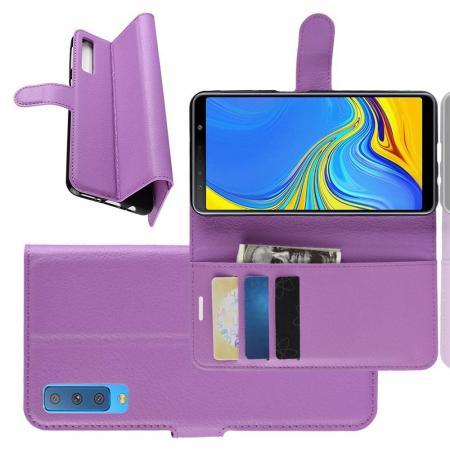 Флип чехол книжка с кошельком подставкой отделениями для карт и магнитной застежкой для Samsung Galaxy A7 2018 SM-A750 Фиолетовый