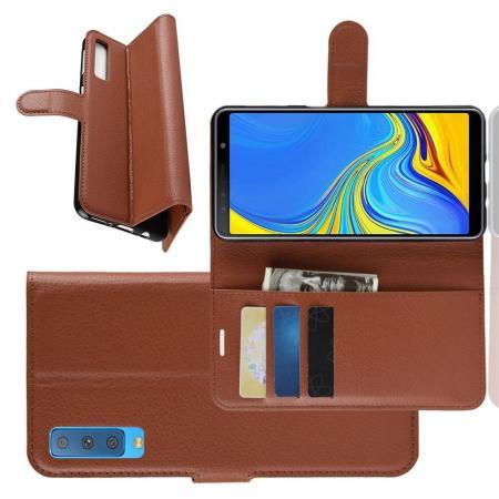 Флип чехол книжка с кошельком подставкой отделениями для карт и магнитной застежкой для Samsung Galaxy A7 2018 SM-A750 Коричневый
