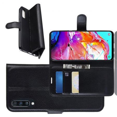 Флип чехол книжка с кошельком подставкой отделениями для карт и магнитной застежкой для Samsung Galaxy A70 Черный