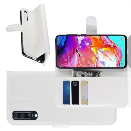 Флип чехол книжка с кошельком подставкой отделениями для карт и магнитной застежкой для Samsung Galaxy A70 Белый