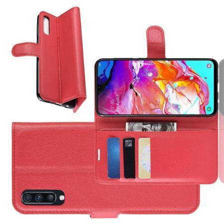Флип чехол книжка с кошельком подставкой отделениями для карт и магнитной застежкой для Samsung Galaxy A70 Красный